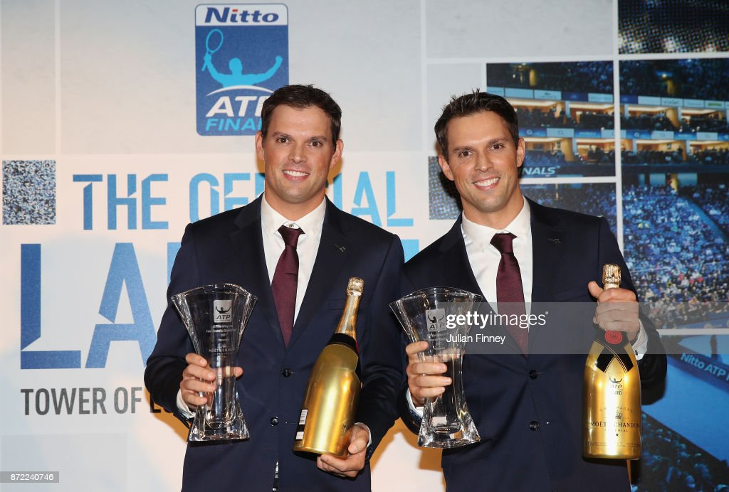 The ATPWorldtour.com Fans' Favourite Doubles Team of the Year, Presented by Moet & Chandon, goes to Bob and Mike Bryan of USA during the The Official Launch ATP Finals at Tower of London on November 9, 2017 in London, England.