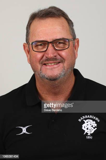 The Attack Coach of the Barbarians Swys de Bruin poses for a portrait during the Barbarians Squad Photocall at Hilton Park Lane on November 26 2018...