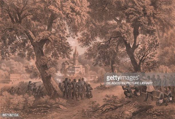 The attack of Garibaldi's troops at San Fermo della Battaglia, Como, Lombardy Second War of Independence, lithograph by Carlo Perrin from the drawing...