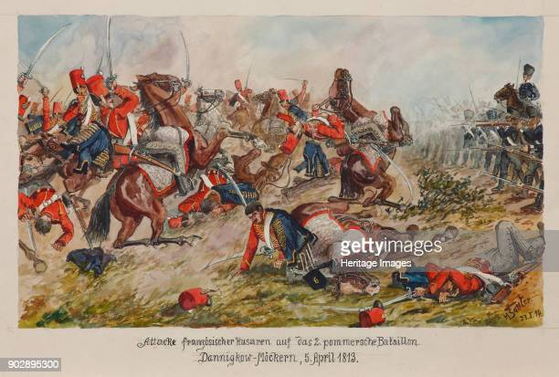 The attack of the French hussars on the 2nd Pomeranian Battalion DannigkowMöckern 5 April 1813 Private Collection