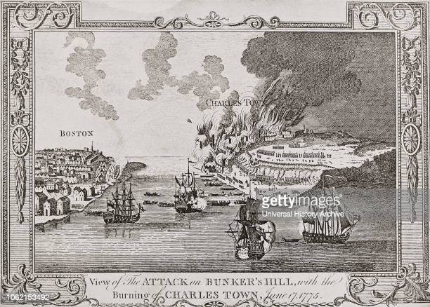 The attack on Bunker Hill and the burning of Charlestown June 17 1775 during the American Revolutionary War After a contemporary work by George Henry...