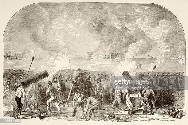 The attack on Fort Sumter April 12 and 13 first battle of American Civil War From a 19th century illustration