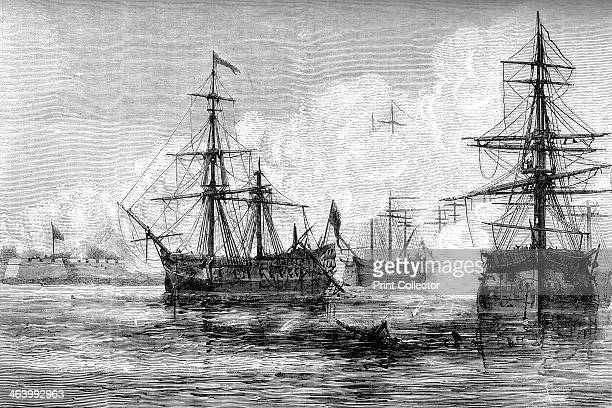 The attack on Sullivan's Island South Carolina 1776 British warships bombarding the colonial fort at Sullivan's Island during the American...