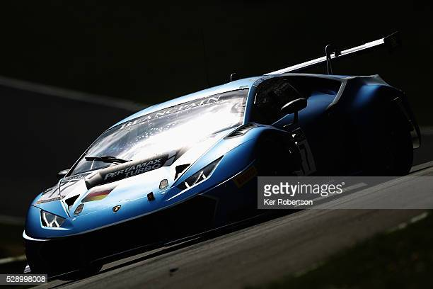 The Attempto Racing Lamborghini of Davide Valsecchi and Marco Mapelli drives during practice for the Blancpain GT Series Sprint Cup at Brands Hatch...