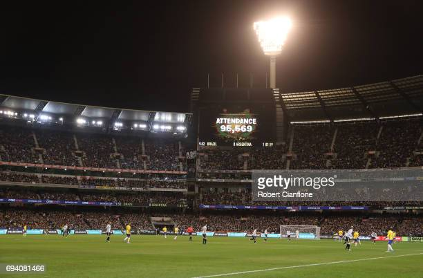 The attendence figure of 95569 is seen during the Brazil Global Tour match between Brazil and Argentina at Melbourne Cricket Ground on June 9 2017 in...
