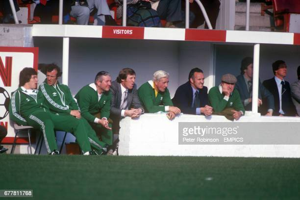 The attention of all on the bench is firmly focussed on the match Celtic's Joe Filippi Bobby Lennox trainer Neil Mochan physio Bob Rooney manager...