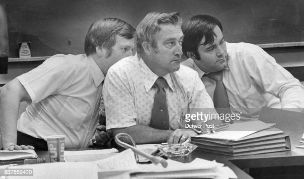 The attentive state legislators left to right are Cliff Dodge of Denver Maynard Yost of Crook and Steve Durham of Colorado Springs Credit Denver Post
