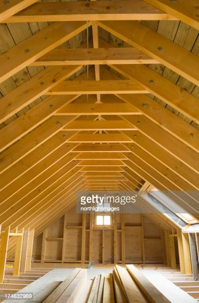 The attic of a newly built house