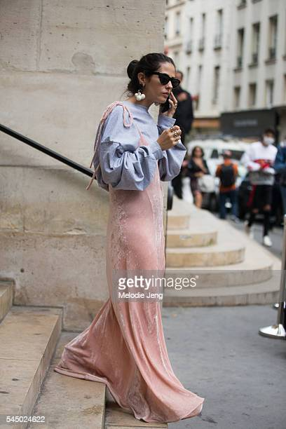 The Attico cofounder Gilda Ambrosio in gray and pink after the Iris Van Herpen show at Eglise de lÕOratoire du Louvre on July 4 2016 in Paris France