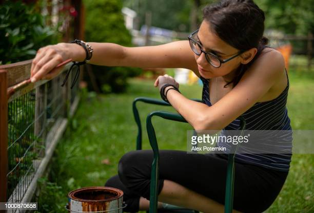the attractive 15-years-old teenager girl painting the fence at the backyard - alex potemkin or krakozawr stock pictures, royalty-free photos & images