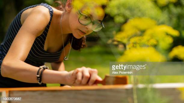 the attractive 15-years-old teenager girl painting the fence at the backyard - 14 15 years stock pictures, royalty-free photos & images