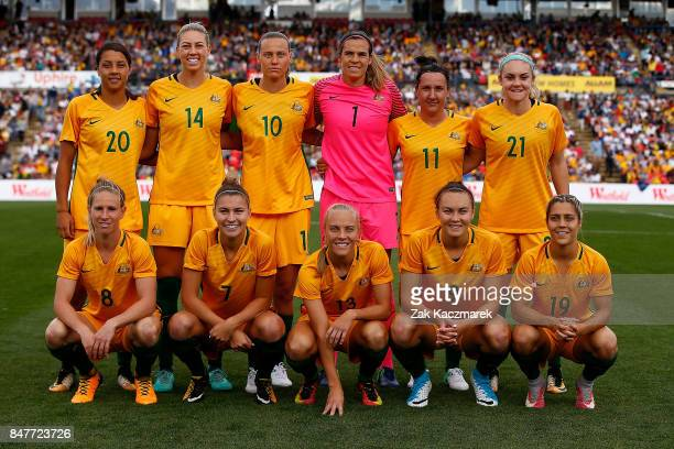The Auatralian Matildas team pose nbefore kickoff during the women's international match between the Australian Matildas and Brazil at Pepper Stadium...