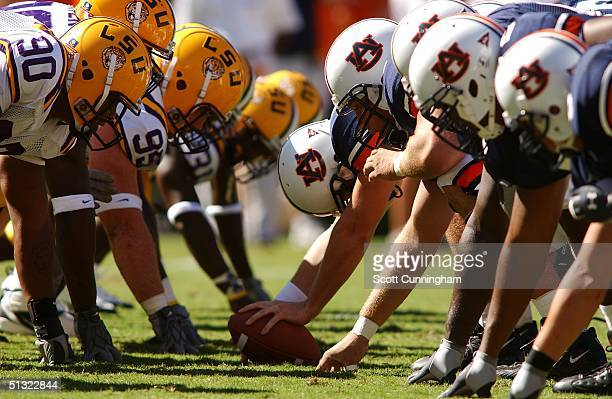 The Auburn Tigers and the LSU Tigers line up during a game on September 18 2004 at JordanHare Stadium in Auburn Alabama