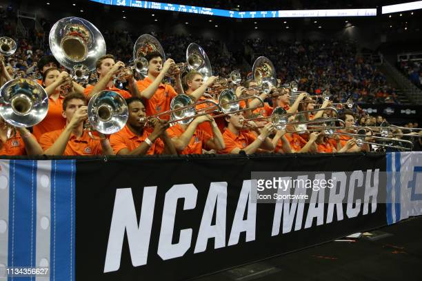 The Auburn Tigers band plays in the second half of the NCAA Midwest Regional Final game between the Auburn Tigers and Kentucky Wildcats on March 31...