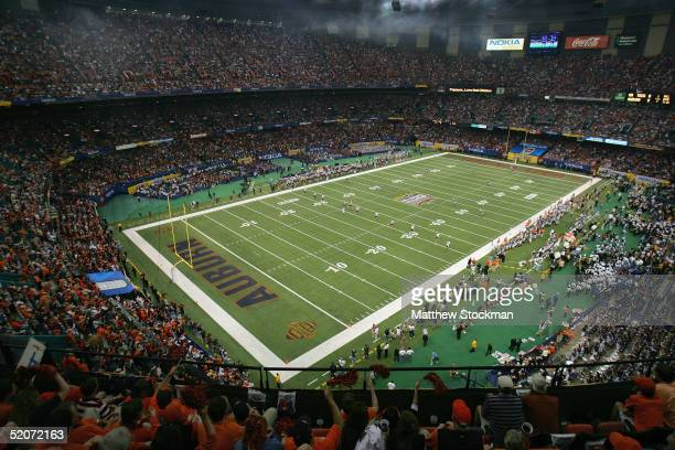 The Auburn Tigers face the Virginia Tech Hokies during the Nokia Sugar Bowl on January 3 2005 at the Superdome in New Orleans Louisiana The No 3...