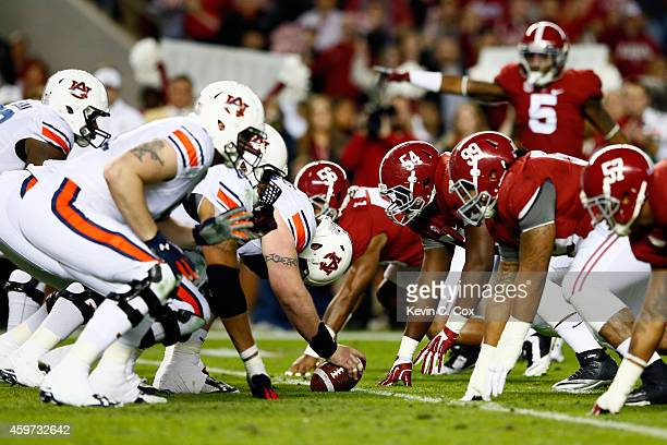 The Auburn Tigers lines up against the Alabama Crimson Tide during the second half of the Iron Bowl at Bryant-Denny Stadium on November 29, 2014 in...
