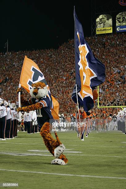The Auburn Tigers mascot leads the cheerleaders and team out onto the field prior to the start of the game against the Georgia Tech Yellow Jackets on...