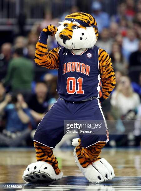 The Auburn Tigers mascot performs against the North Carolina Tar Heels during the 2019 NCAA Basketball Tournament Midwest Regional at Sprint Center...