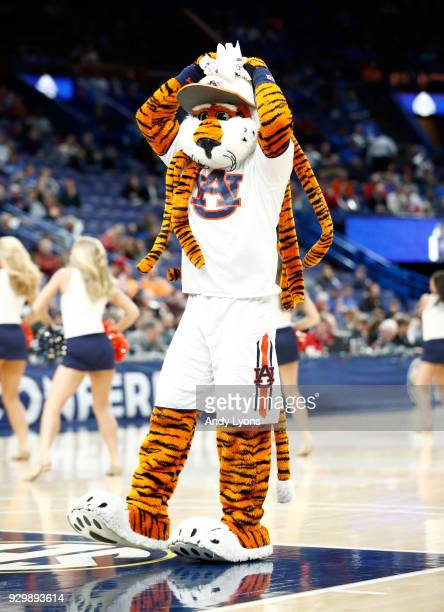 The Auburn Tigers mascot performs in the game against the Alabama Crimson Tide during the quarterfinals round of the 2018 SEC Basketball Tournament...