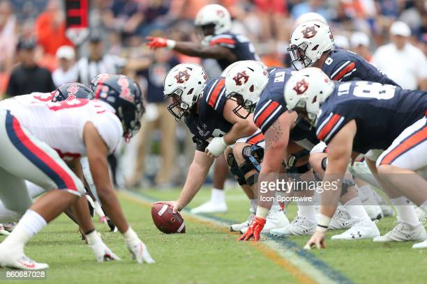 The Auburn Tigers offensive line sets up during a football game between the Auburn Tigers and the Ole Miss Rebels Saturday October 7 2017 at...