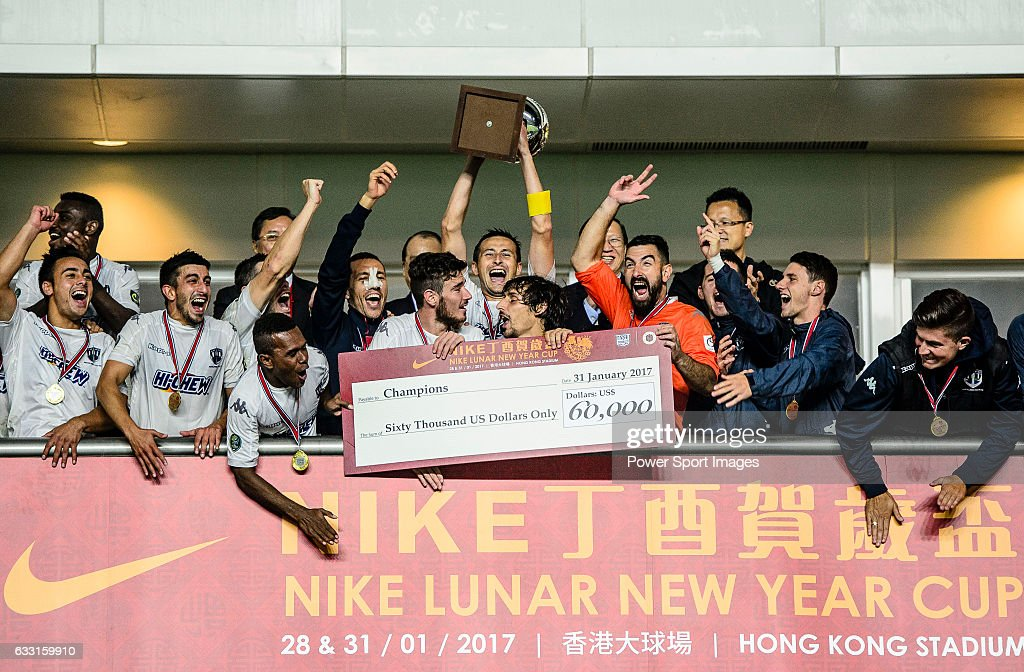 The Auckland City FC Squad celebrate with the Champions Trophy after winning the Lunar New Year Cup match between SC Kitchee (HKG) and Auckland City FC (NZL) on January 31, 2017 in Hong Kong, Hong Kong.