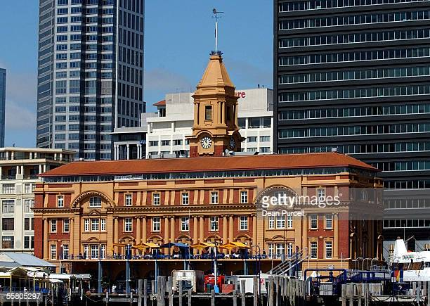 The Auckland Ferry Building located along Quay Street in downtown Auckland