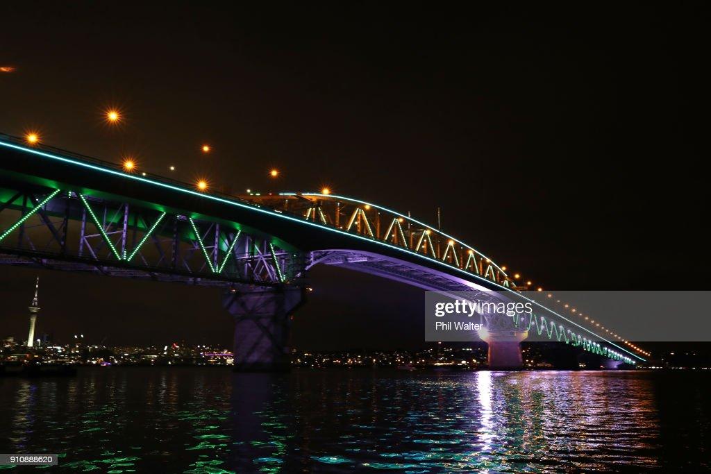 aucklanders gather for launch of vector lights on harbour bridge