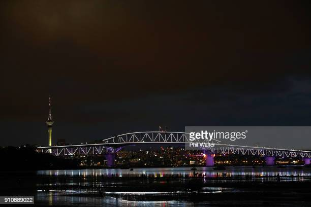 The Auckland Harbour Bridge is lit up with lights on January 27 2018 in Auckland New Zealand Vector Lights will feature a groundbreaking renewable...