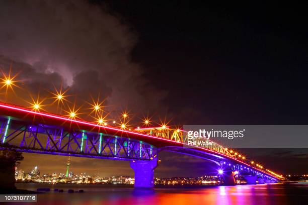 The Auckland Harbour Bridge is pictured lit up with Christmas lights on December 15 2018 in Auckland New Zealand Vector Lights is counting down the...