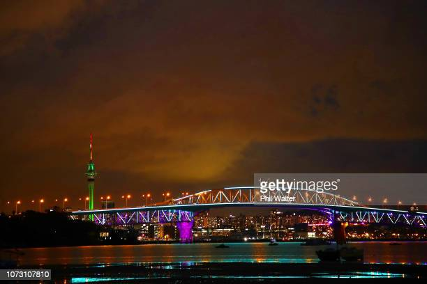 The Auckland Harbour Bridge is pictured lit up with Christmas lights on December 14 2018 in Auckland New Zealand Vector Lights is counting down the...