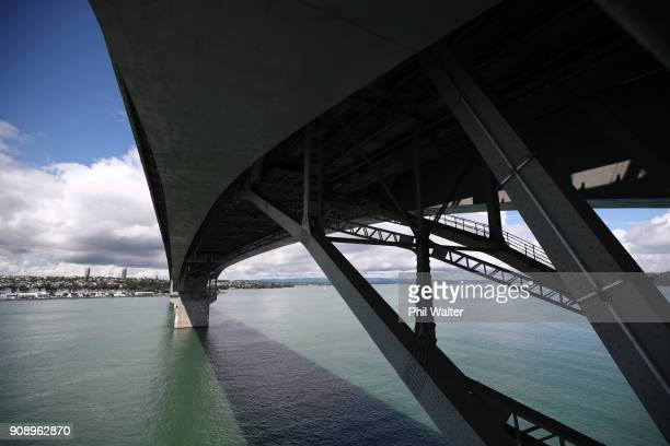 The Auckland Harbour Bridge is pictured on January 23 2018 in Auckland New Zealand Launching on 27 January Vector Lights will feature a...