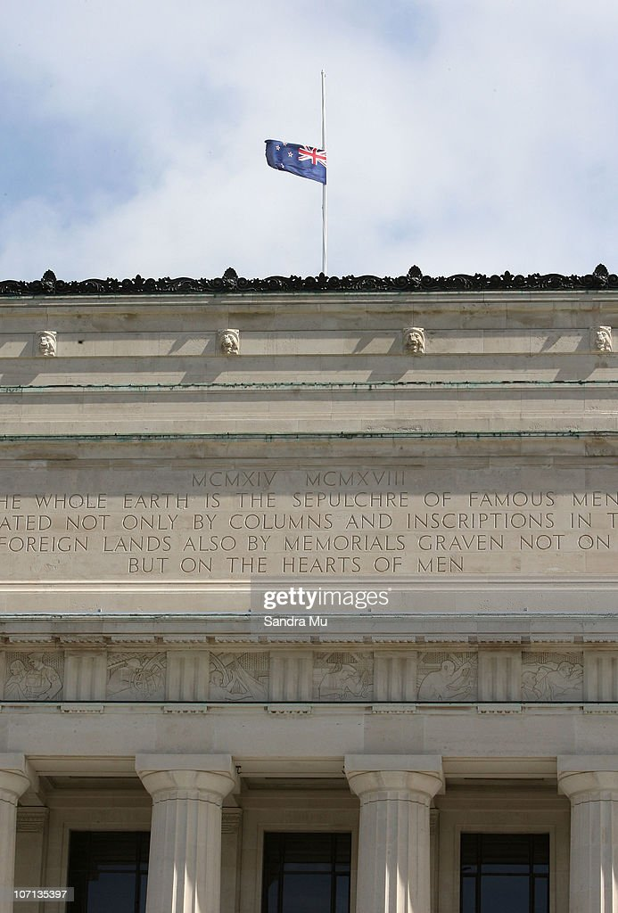 The Auckland Museum is seen with their New Zealand flag flying at half mast for the trapped miners on November 25, 2010 in Auckland, New Zealand. Families were informed there would be no survivors after a second blast occurred at the Pike River mine where 29 miners were trapped following an initial blast on November 19. Safety and rescue crews were on standby for days waiting for safe air and gas levels to commence a rescue mission. Two Australians, two Britons, and a South African were amongst the New Zealand mine crew trapped in the mine 50 kilometers north of Greymouth on New Zealand's west coast.