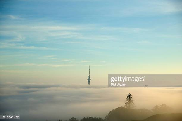 The Auckland Sky Tower struggles to break through a blanket of fog over Auckland City on May 4 2016 in Auckland New Zealand The morning fog disrupted...