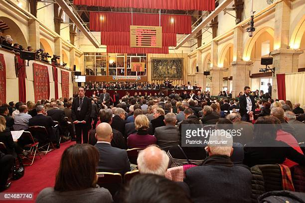 The auction at the 156th Charity Wine Auction Hospices de Beaune on November 20 2016 in Beaune FranceThe Hospices de Beaune charity wine auction is...