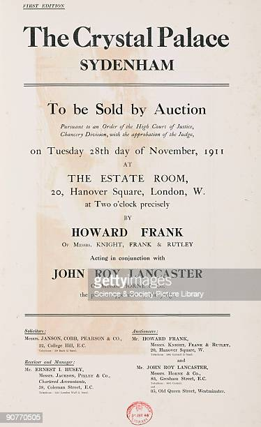 The auction was held at the premises of Knight Frank Rutley 20 Hanover Square London The Crystal Palace was built to house the 'Great Exhibition of...