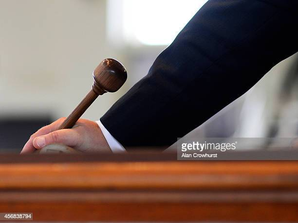 The auctioneers gavel during the Tattersalls sales in Newmarket on October 08 2014 in Newmarket England