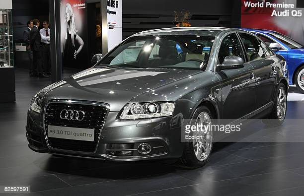 The Audi A6 is displayed during its World premier at 2008 Moscow International Automobile Exhibition on August 27 Moscow Russia