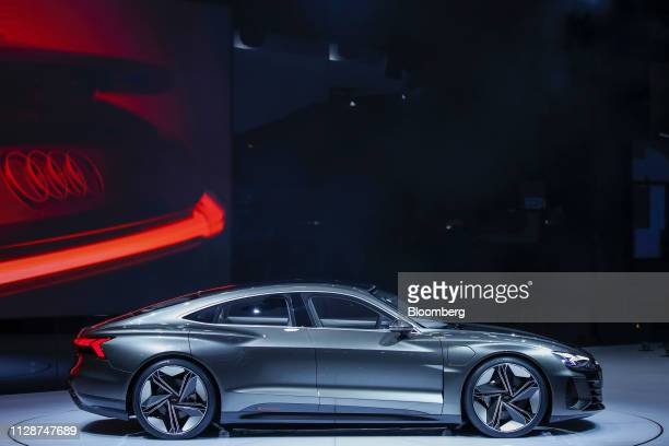 The Audi AG A7 etron automobile sits on display on the opening day of the 89th Geneva International Motor Show in Geneva Switzerland on Tuesday March...