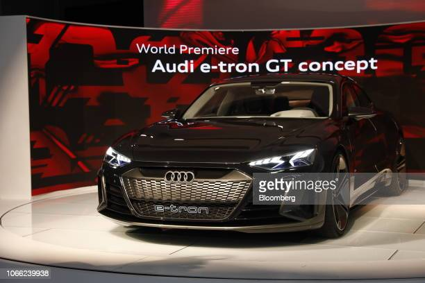 The Audi AG e-tron GT concept vehicle is displayed during AutoMobility LA ahead of the Los Angeles Auto Show in Los Angeles, California, U.S., on...
