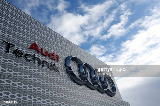 The Audi AG logo is seen displayed on the company's temporary stand during the World Economic Forum meeting in Davos Switzerland on Tuesday Jan 22...