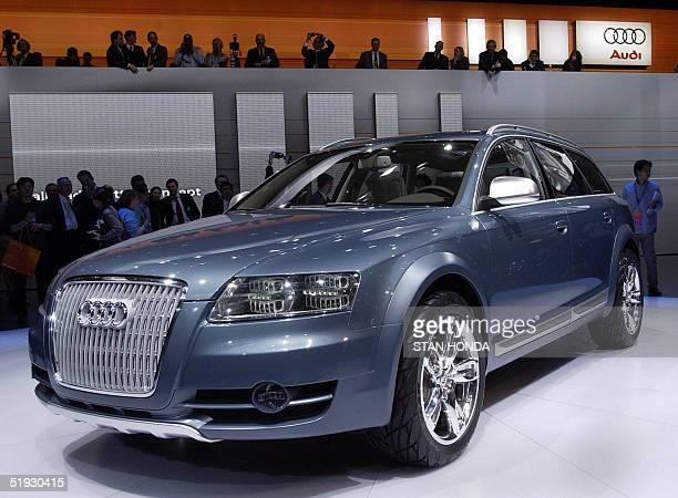 The Audi Allroad Quattro concept car is unveiled 09 January 2005 during the North American International Auto Show at Cobo Hall in Detroit MI AFP...