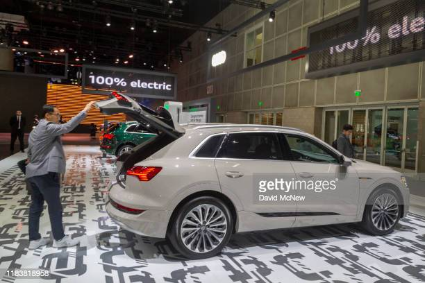 The Audi e-tron electric SUV is shown at AutoMobility LA on November 21, 2019 in Los Angeles, California. The four-day press and trade event precedes...
