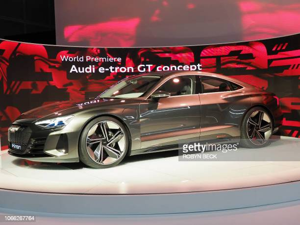 The Audi ETron GT concept car in unveiled at AutoMobility LA the trade show ahead of the LA Auto Show November 28 at the Los Angeles Convention...
