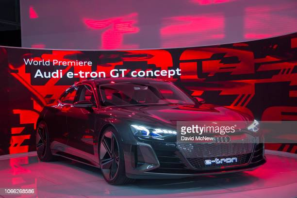 The Audi etron GT concept is unveiled during the auto trade show AutoMobility LA at the Los Angeles Convention Center on November 28 2018 in Los...