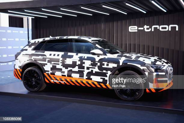 The Audi etron is displayed during the Audi preEmmy celebration at the La Peer Hotel in West Hollywood on Friday September 14 2018