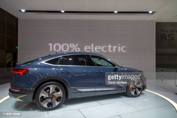 The Audi E-Tron Sportback electric car is shown at AutoMobility LA on November 21, 2019 in Los Angeles, California. The four-day press and trade...