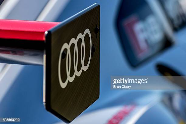 The Audi logo emblem is displayed on a race car in the paddock before the Pirelli World Challenge GT race at Barber Motorsports Park on April 23 2016...