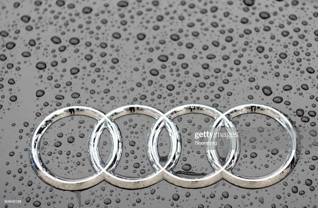 The Audi logo sits on a vehicle during the company's full ye : News Photo