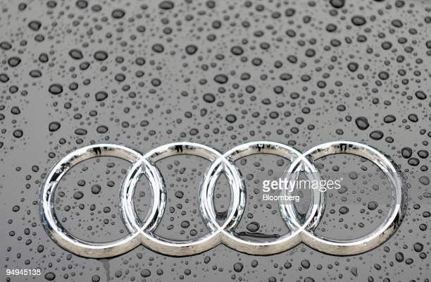 The Audi logo sits on a vehicle during the company's full year earnings press conference in Ingolstadt Germany on Tuesday March 10 2009 Volkswagen...