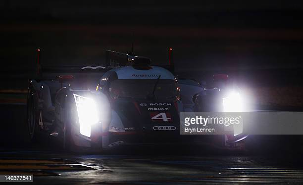 The Audi R18 Ultra of Oliver Jarvis Marco Bonanomi and Mike Rockenfeller in action during qualifying for the 24heures du Mans on June 14 2012 in Le...